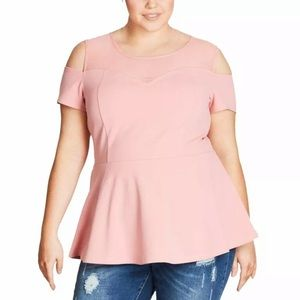 NWT City Chic Cold Shoulder Sweetheart Peplum Top